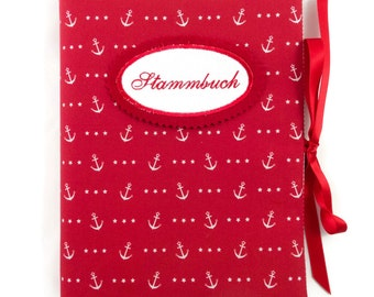 Binder DIN A5 - E.g. as a stud book, anchor red - inside 20 term hull - embroidery button on request
