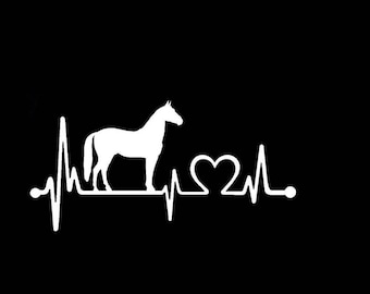 "Horse Heartbeat V1 Lifeline Love 8"" Vinyl Decal Window Sticker for Car, Truck, Motorcycle, Laptop, Ipad, Window, Wall, ETC"
