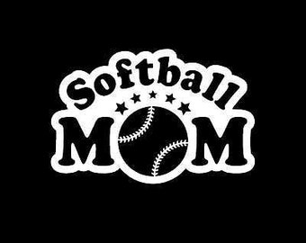 "Softball MOM v1 School Sports 6.5"" Vinyl Decal Window Sticker for Car, Truck, Motorcycle, Laptop, Ipad, Window, Wall, ETC"