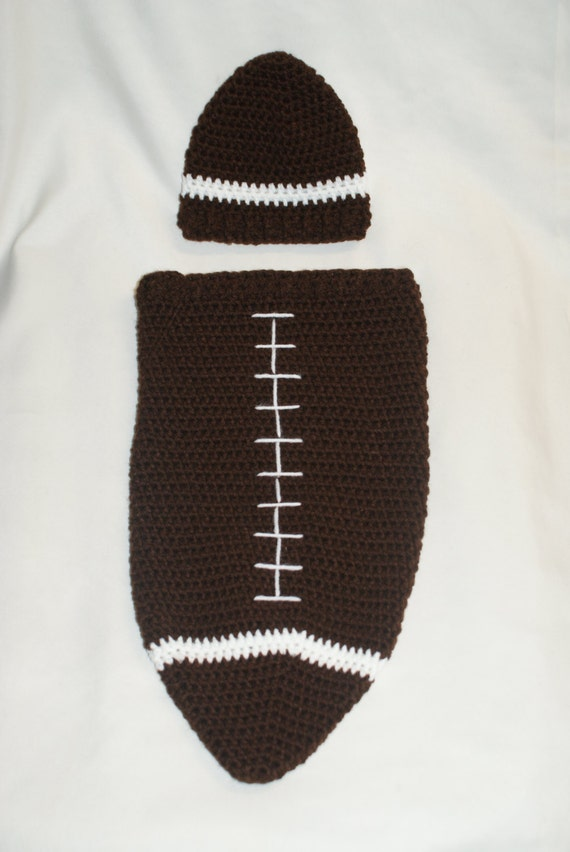 Free Printable Crochet Patterns For Baby Cocoons : Crochet Football Cocoon and Hat PDF Pattern. Newborn.