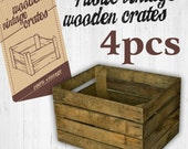 4 x Vintage Wooden Apple Crate Rustic Wood Box Wedding Decor Farmhouse Log Storage Cottage Living Photo Prop