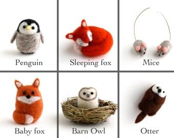 DIY Kit - Pick any 4 Animals - Needle Felting Kit - Needle Felted Miniature Animal Kit - Gift Craft Kit