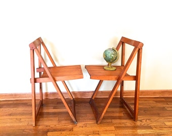 Midcentury Pair of A-Frame Folding Chairs, Midcentury Wooden Folding Chairs