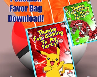 Pokemon Favor Bag, Pokemon Downloads, Pokemon Party Favors,Thank You Cards, Pokemon decorations,Favor Bag Printables,Favor Download