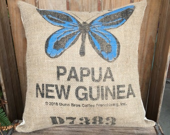 Recycled Burlap Coffee Bag Pillow with Butterfly