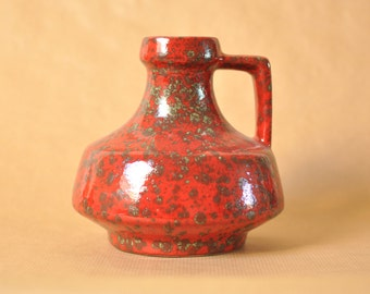 ES keramik - fat lava vase - West German pottery jug - red and green glaze - Emons & Söhne - 863/19