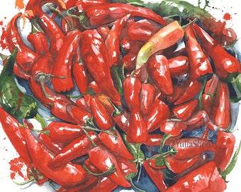 Original Watercolor Painting Peppers Hot Peppers Kitchen Decor Room Decor Restaurant Decor Handmade 8x10