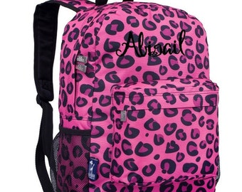 Personalized Pink Leopard CJ Backpack by Wildkin Monogrammed Embroidered