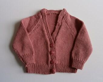 Dark Raspberry Pink V - Neck Cardigan for 0-3 months in 4 ply cotton yarn