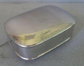 Art Deco Silver Soap Travel Box - Silver Plate Soap Caddy - Trinket Box