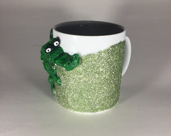 Alligator glitter mug // dishwasher safe! // holds 12 ounces
