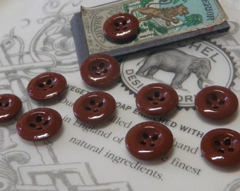 10 Solid Brown China Buttons From France 1910