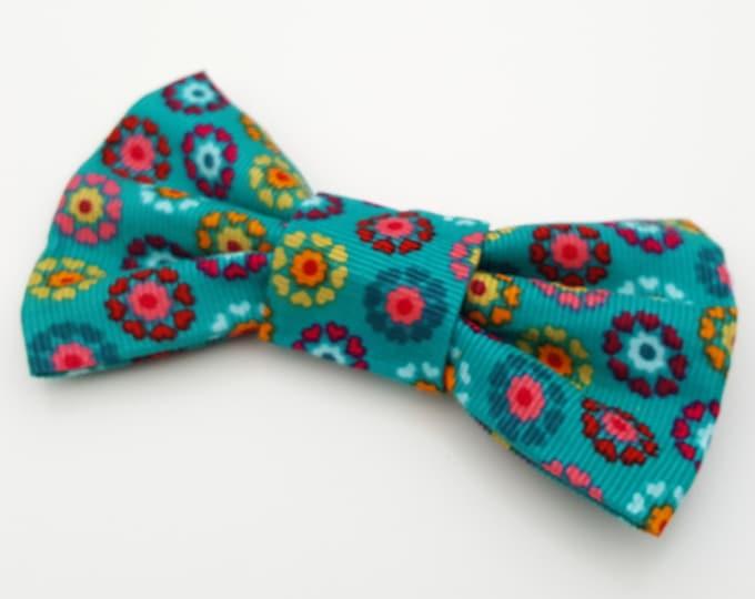 Dog Bow Tie - Teal Folksy Flower Floral