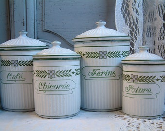 Antique french enamel kitchen canister set in white with green and pink frieze. French country. French canister set. Signed BB Frères.