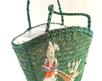 Vintage Easter Raffia Children's Tote Bag Wicker Bunny Rabbit Jelly Bean Holder Easter Peeps Purse Bunnies Carrots Kids Carrier