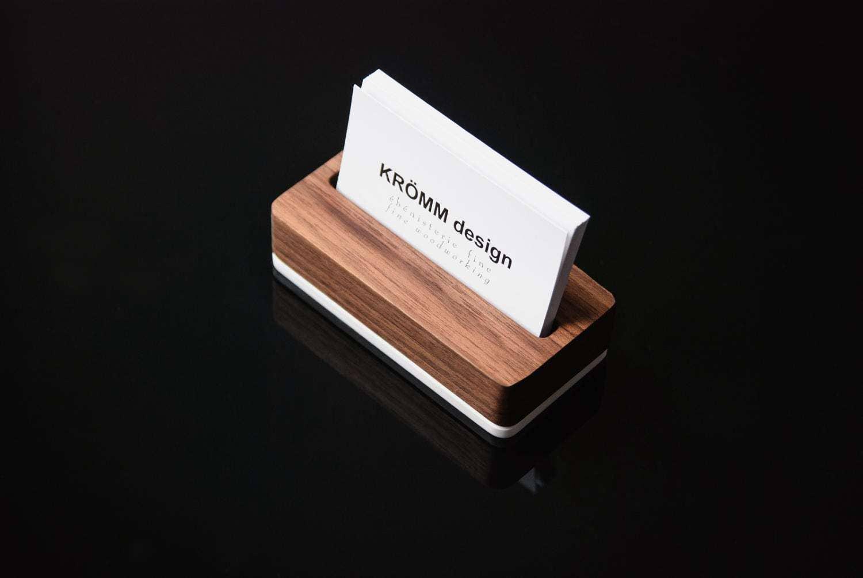 Wood Desk Organizer, Set of Walnut Wood Business Card Stand, Paper ...