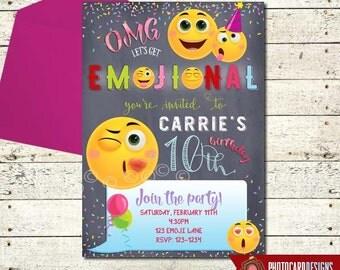 Emoji Invitation, Emoji Birthday Invitation, Emoji Party, Emoji, Invitation, Birthday, Card, Printable, Digital, Print file, invite, Party