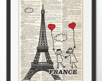 Love France, Dictionary Art Print, Art Print Home decor, Wall decor, Anniversary gift, loves Paris
