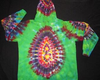 Psychedelic Tie Dye Zip Up Hoodie Sweatshirt, Junior Size 2XL