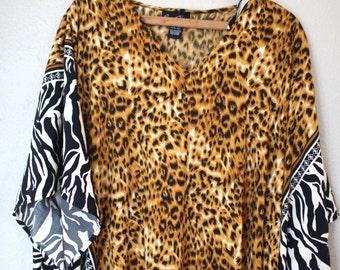 vintage leopard zebra safari animal print tunic caftan dress
