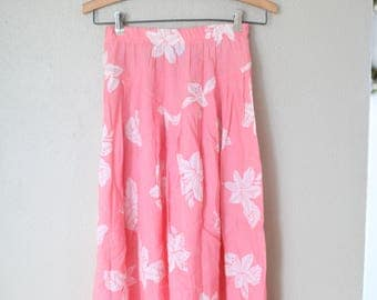 vintage coral pink hawaiian hibiscous skirt