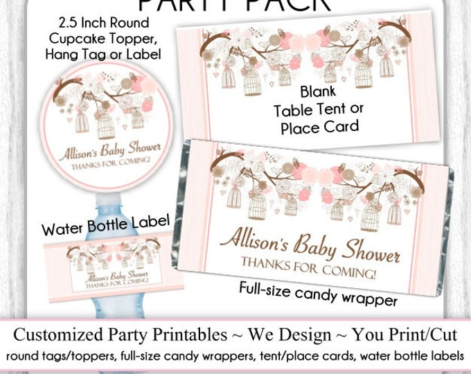 CUSTOM Printable PARTY PACK: Printable Tags, Candy Wrappers, Water Bottle Labels, Tent Cards - Birdcage Baby Shower or Choose Your Theme