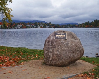 Lake Placid Ironman Rock, Ironman, Mirror Lake, Photography, Art, Print, Adirondacks, Autumn, Fall, Ironman