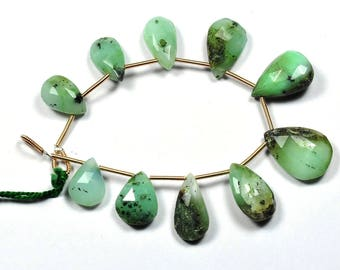 7 Inch Strand-10x13-14x19mm-Natural Chrysoprase Faceted Pear Shape Briolette Beads Strand 10 Beads(2968-69)