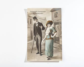 Antique postcard from 20s -  made in Estonia - greeting card - man and woman - birthday card
