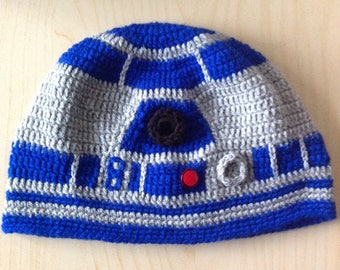 star wars R2D2 inspired crochet handmade beanie hat