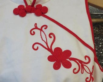 Dress Floor Length Asian Style Homemade Gown  // Red & White  //  Corded: Neck, Arm Holes, Hem, and Sides  //  Band Uniform dress