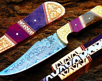"""5.0""""Damascus Blade Collector Hunting Knife w/Engraved Brass Bolsters,Dyed Buffalo Bone,File-Work, Sheath coverUDK-AF-15"""
