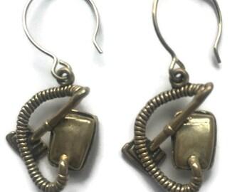 """Vintage Vacuum Cleaner Earrings Sterling Silver 925, 1 1/2"""" Tall"""