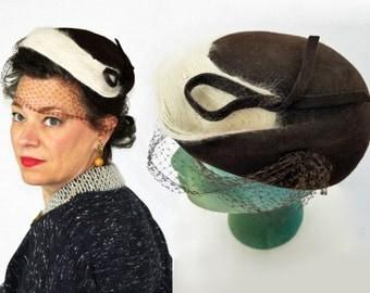 1940s Hat / 40s Hat / 1950s Hat / 50s Hat / Brown Felt Hat / Angora Rhinestones Netting Wool Hat / Veiled Hat / Brown Hat / Hat with Veil