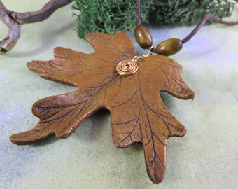 PENDANT Maple Leaf Leather Necklace with copper wire spiral - Autumn Fall