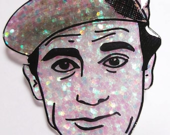 Norman Wisdom glittery illustrated brooch