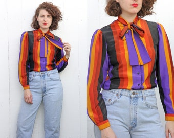 Vintage 70s Blouse | 70s Striped Secretary Bow Blouse Long Sleeve | XS Small S
