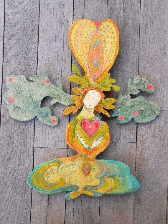 Green Heart Goddess by Kimberly Hodges, wooden goddess sculpture, yoni art, goddess art