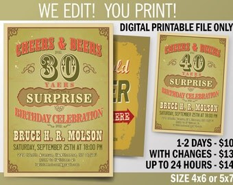 Cheers and Beers. Surprise Birthday Party invitation for 30th - 40th - 50th - 60th  Celebration. DIY