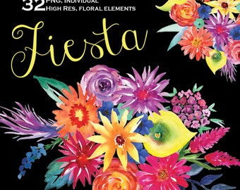 32 Fiesta Watercolor Flowers Clipart,  Mexican flowers clipart, wedding clip art, digital clipart, hand painted flowers