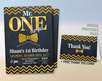 Mr Onederful Invitation, Onederful Birthday, Mr. One-derful Birthday Party Invitation, Black and Gold First Birthday Party