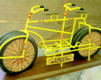 Coaster Set Bicycle Built For Two Enesco 1975 Vintage Bicyclists Rare