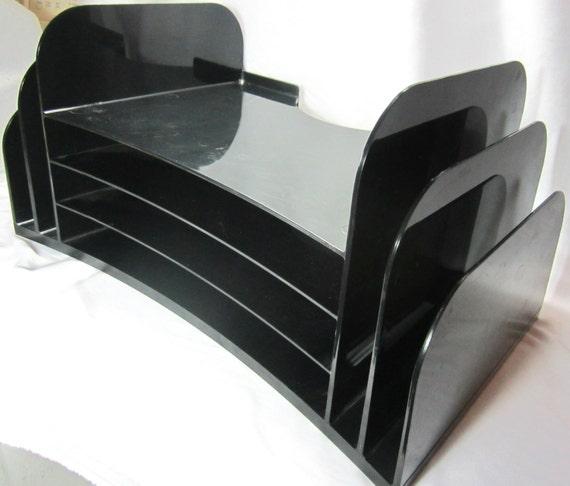 Black Plastic Desk Organizer File Folder Bin Storage Home