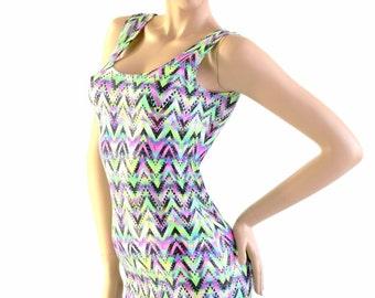 Chevron Candy Sparkling Sleeveless Spandex Tank Bodycon Dress 154107
