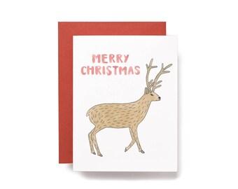 Merry Christmas. Reindeer Christmas Card.
