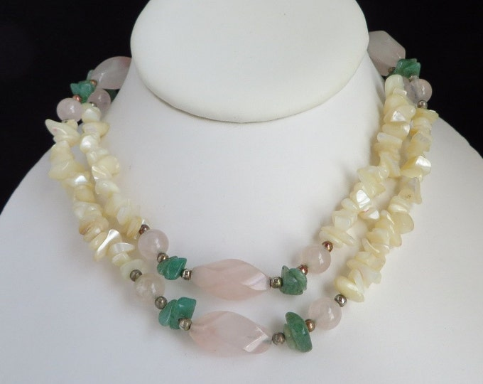 Jade, MOP, Quartz Necklace, Vintage Long Shell and Stone Necklace, FREE SHIPPING