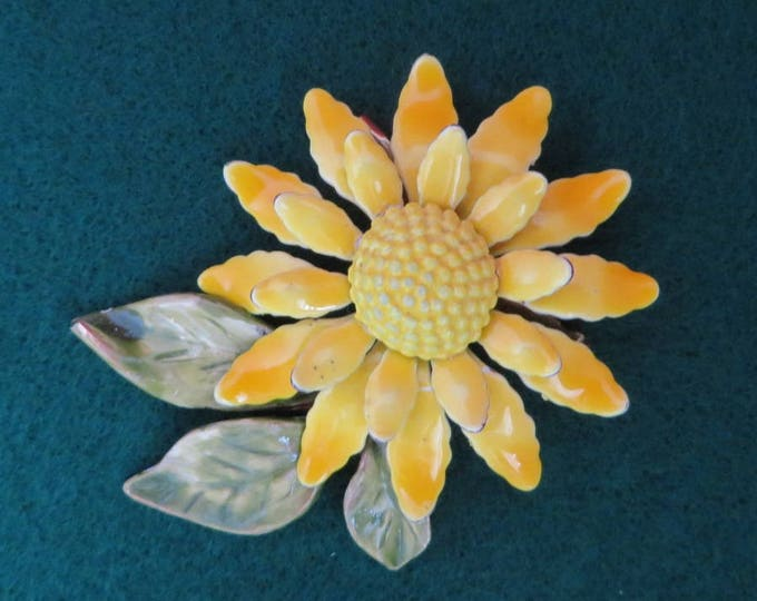Yellow Enamel Flower Pin, Vintage Yellow and Green 1960s Flower Brooch Retro Jewelry