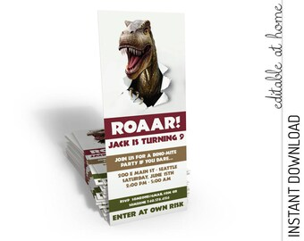 Dinosaur Invitation, Dinosaur Birthday Invitation, Dinosaur Party Invitation, Trex INSTANT DOWNLOAD you personalize at home