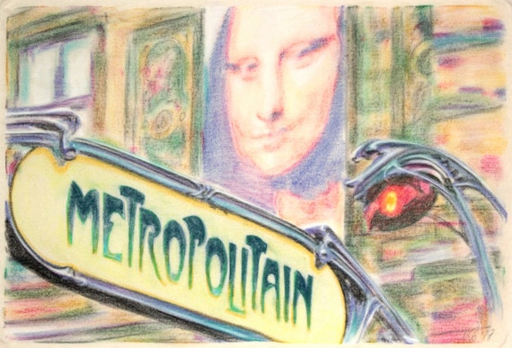 Original, one-off drawing of a Paris Metro sign, in charcoal and pastel on calico