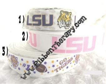 3 yards LSU Tigers - Louisiana State University - 7/8 inch  or 1 inch - CHOOSE DESIGN - Printed Grosgrain Ribbon